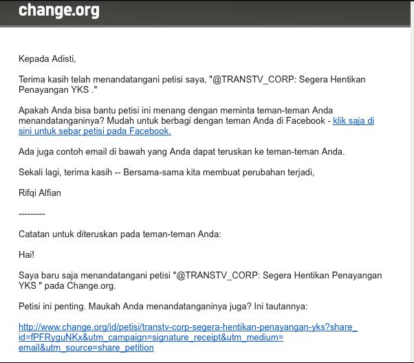 Ini screen capture email yang says terima setelah mengisi petisi menghentikan tayangan YKS