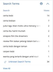 Kalian lihat yang menempati peringkat pertama dan kedua search term itu apa?